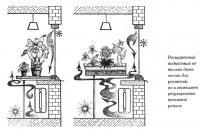 Расширенный подоконник дает место для растений